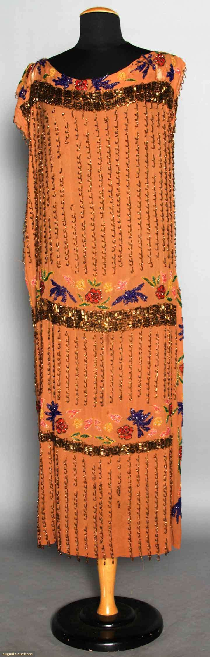 BEADED FLAPPER DRESS  Cocoa brown silk crepe w/ copper carnival glass beads & colorful floral beading.