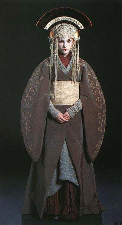 A kimono-inspired robe worn by Padme Amidala in Star Wars Episode I. Keep the lace headress, take away the fan thingy on her head, and put the fan in her hand and I would like it better lol. :P