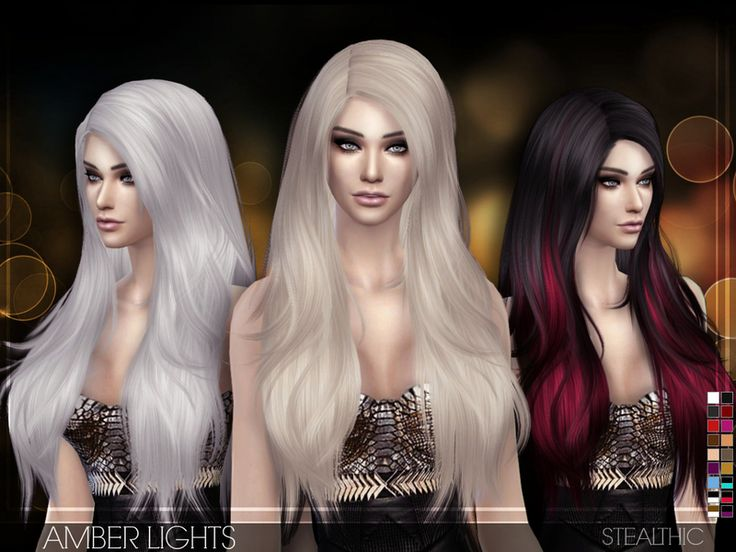 Stealthic Amber Lights (Female Hair) Coiffures Sims 4