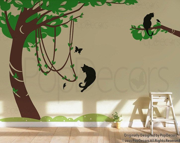 Best Images About Beautiful Nature Style Tree Decals On Pinterest - Custom vinyl wall decals cats