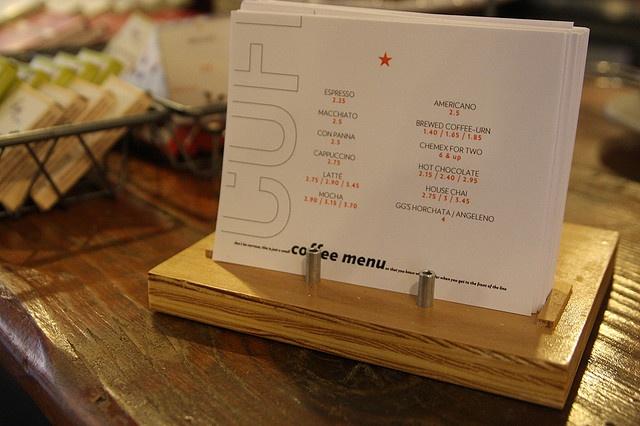 postcard coffee menus