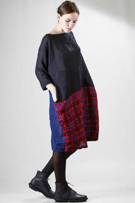 Daniela Gregis washed wool gauze midi dress with tartan and solid colour stitched panels