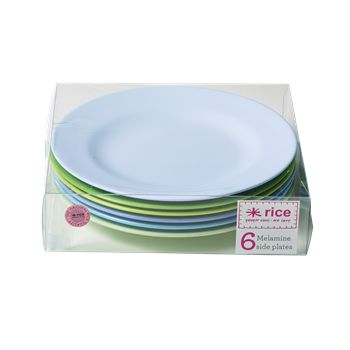 Melamine Round Side Plates in 6 Assorted Blue and Green Colors