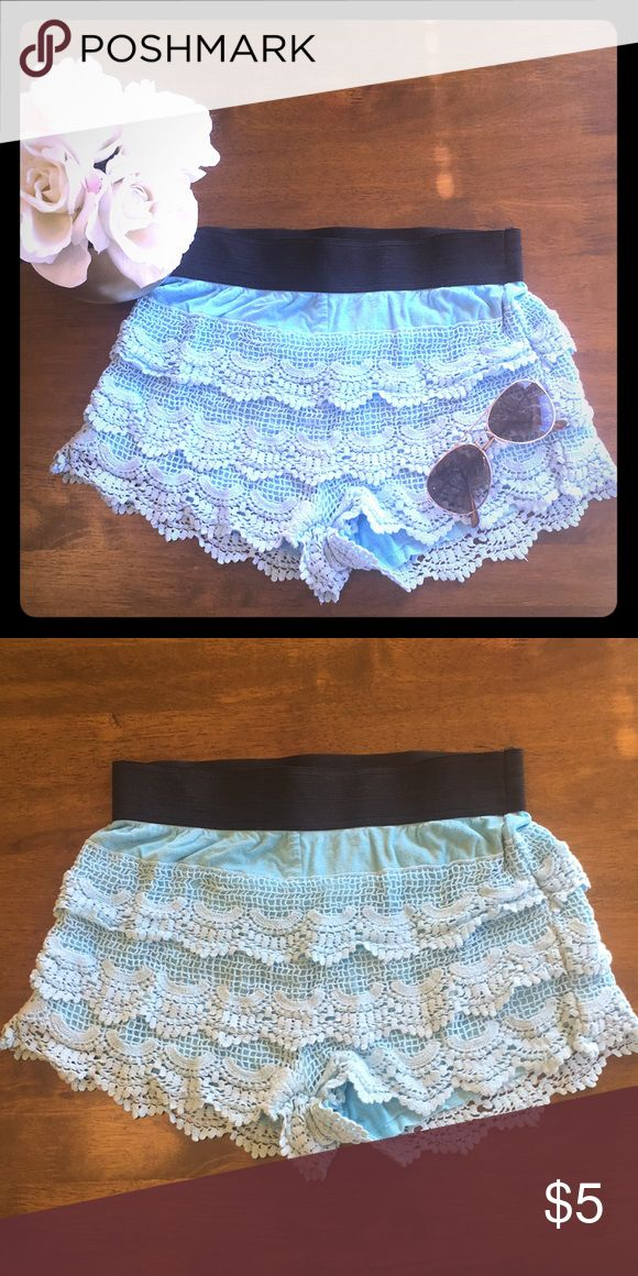Blue Crochet Shorts Really cute crochet shorts. Looks good dressed up or simply casual. 55% cotton, 45% polyester. Size S. Giddy Up Glamour Shorts