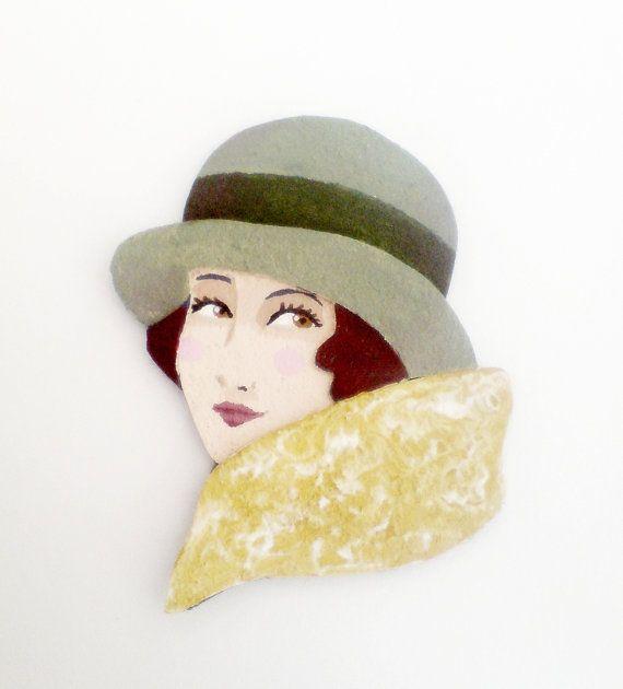 Broadway girl brooch fabric brooch retro brooch by yalipaz on Etsy, $15.00