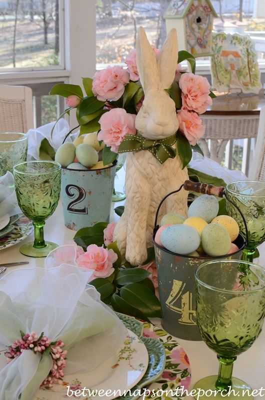 Easter Spring Tablescape Table Setting from Between Naps on the Porch.