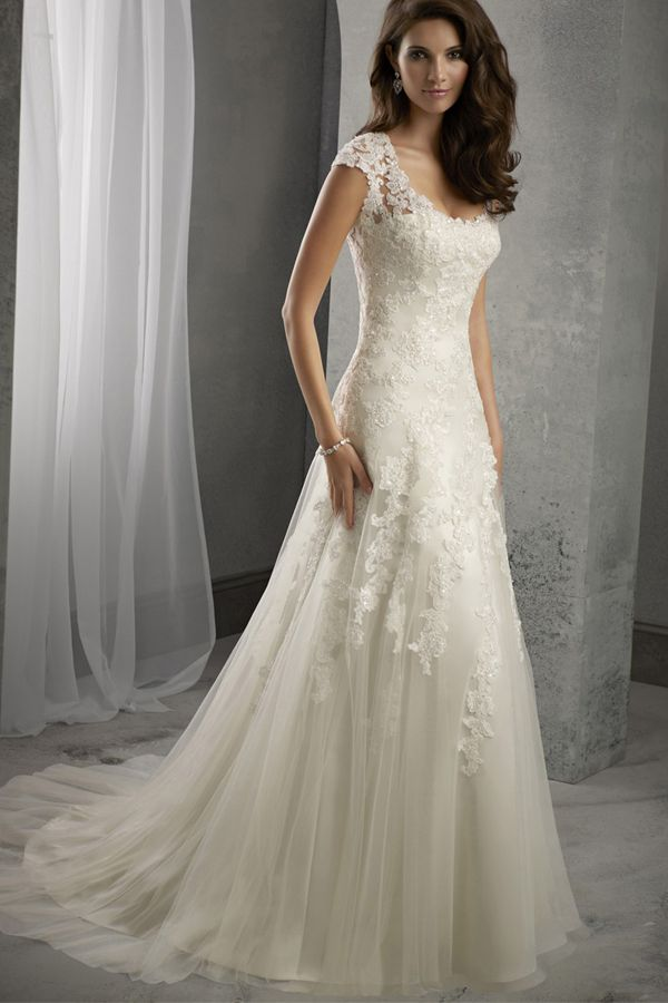 [168.40] Elegant Tulle Scoop Neckline Natural Waistline A-line Wedding Dress With Beaded Lace Appliques 1