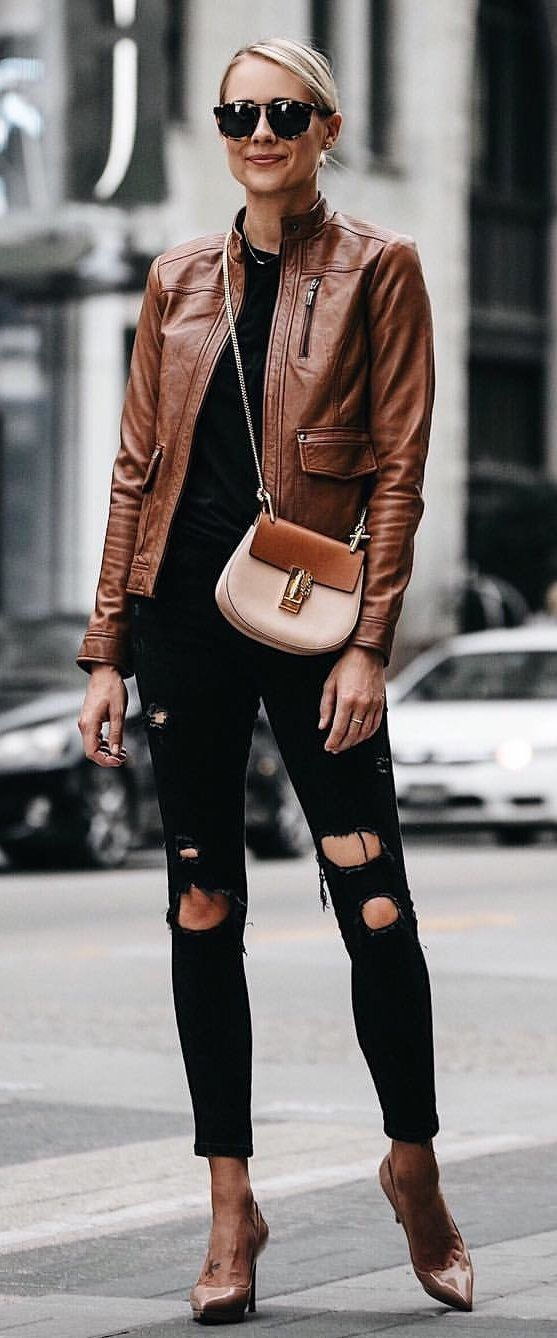 #fall #outfits women's brown leather jacket