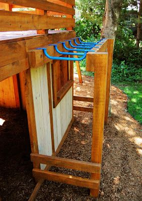 Cool take on monkey bars - they're just steps hung upside down.