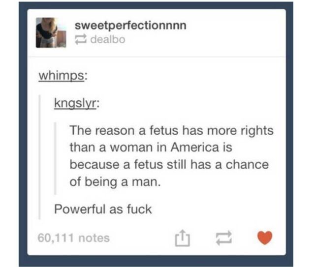 The reason a fetus still has more rights in America is because that fetus still has a chance of being born a male. I personally don't think I could abort, but I will damn sure not let a man or a patriarchal society tell me I can't.