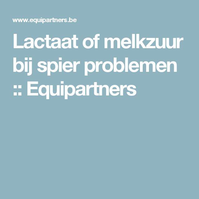 Lactaat of melkzuur bij spier problemen :: Equipartners