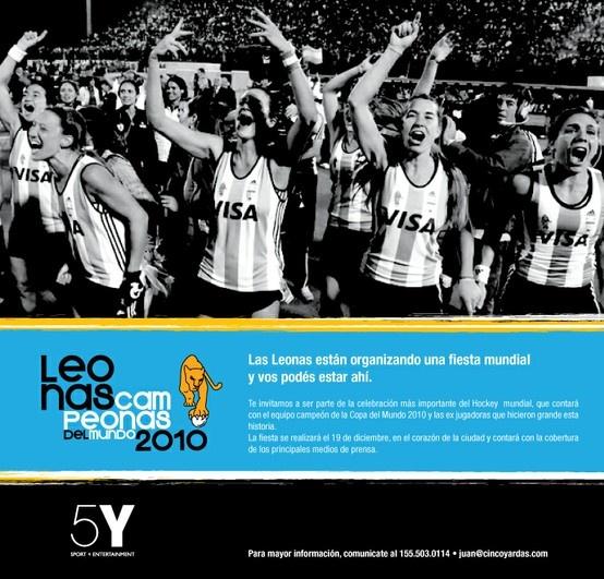 Publicidad Leonas 2010 - Campeonas del Mundo, Adidas. Para 5 Yardas.