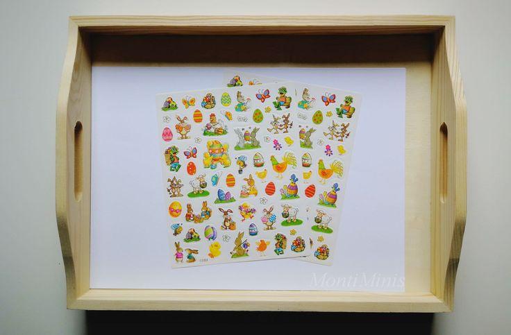 Montessori Tablett-Idee: Oster Sticker. Montessori Ideen für Ostern.