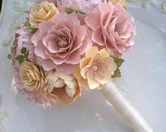 Paper Flower Bouquet - Paper Flowers - Wedding Bouquet - Toss Bouquet - Pink and Ivory - Custom Made - Any Color