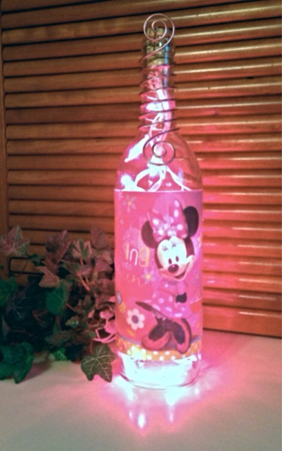 Minnie Mouse Bottle Light Lamp maleficent by GypsyBottleBoutique