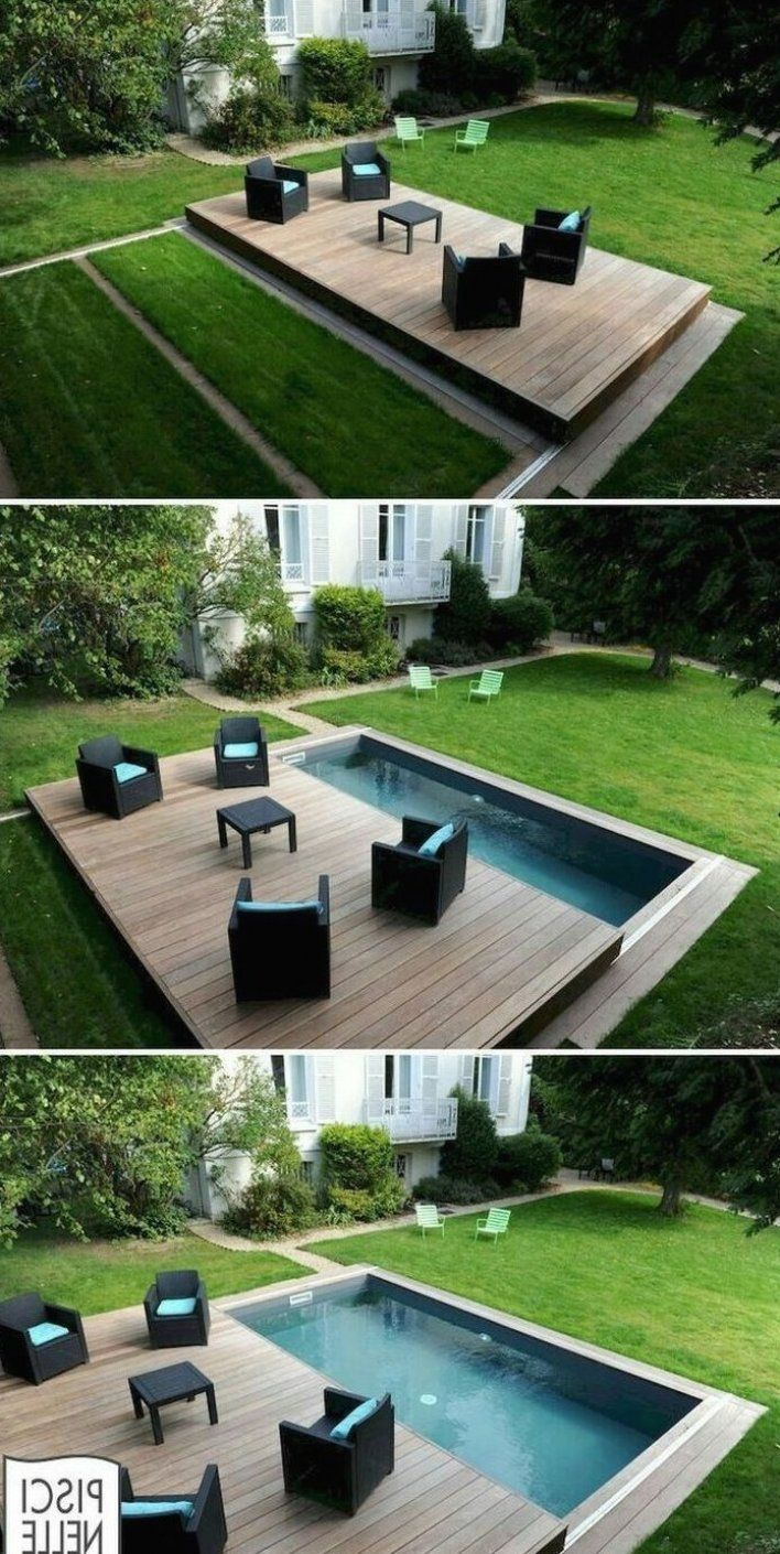 82 Ideen F R Swimmingpools Kleiner Garten Pool Kleine Terrassenideen Kleiner Garten Kleiner Garten K Small Backyard Pools Backyard Pool Designs Backyard