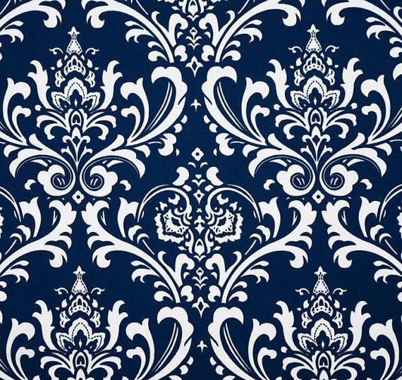 Table Runners - Navy Blue and White Damask Table Runner - Damask Table Runners For Weddings or Home Decor- Select A Size