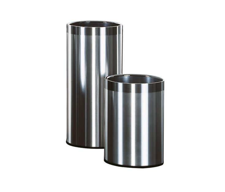 Executive line of waste-paper baskets and umbrella stands, finished in stainless steel or in epoxy painted steel, covered with imitation leather. The top..