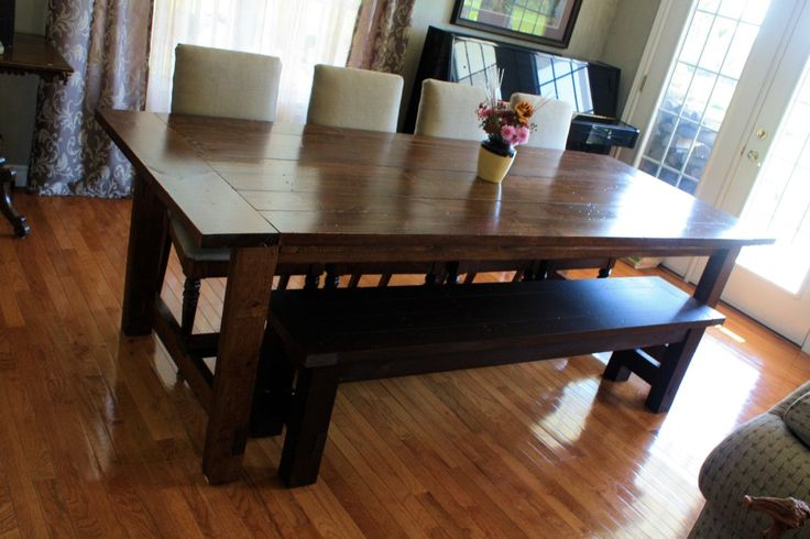 Furniture. dark brown stained oak wood dining table with black bench combined with broken white leather upholstered dining chairs on brown hickory hardwood floor. Awesome Narrow Dining Room Table For Small Dining Room