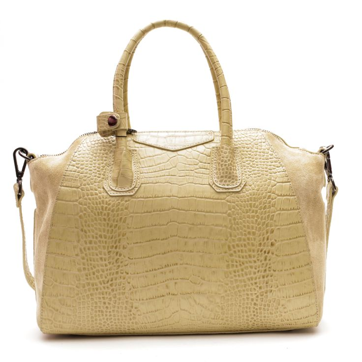 Alma Leather Tote (Beige) by Pink Corporation | ilovehandbags.com.au