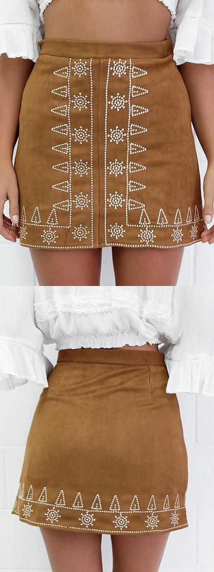 Fall chic, Brown Faux Suede Embroidery Pencil Skirt from chiclookcloset.com.Love it's color, perfect model