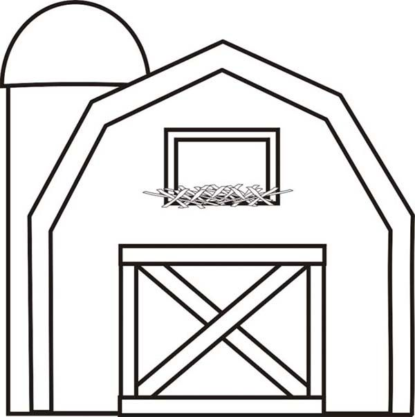 barn with silo coloring page use with big red barn - Barns Coloring Pages Farm Silos