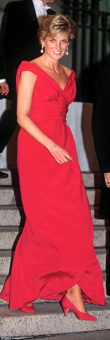 Much-loved: Diana wore this Victor Edelstein gown eight times — here in the U.S. in 1990