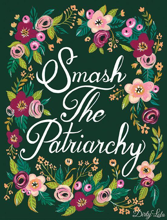 Smash the Patriarchy Art Print Painting Art Floral