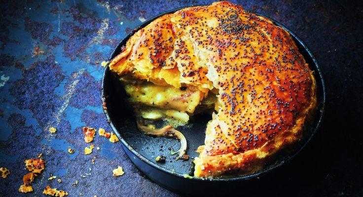 Pie tomate verte, oignon doux et mozzarella (Philippe Conticini)