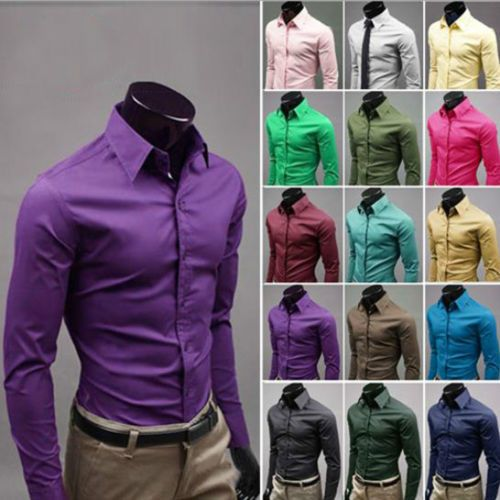 US Luxury Hot Men Slim Fit Shirts Long Sleeve Dress Shirt Casual T-Shirt Formal