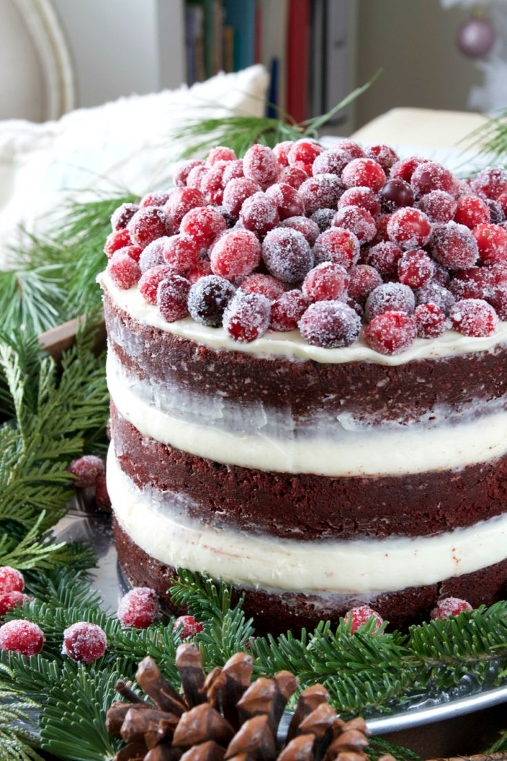 Red Velvet Layer Cake with Sugared Cranberries