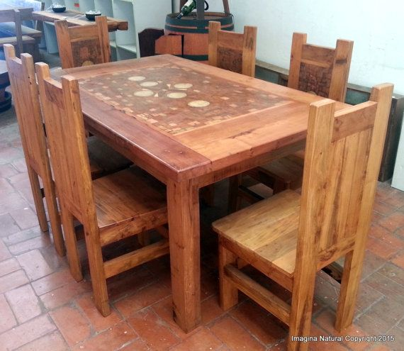 Handmade Mosaic Dining Table With 6 Chairs  Made by ImaginaNatural