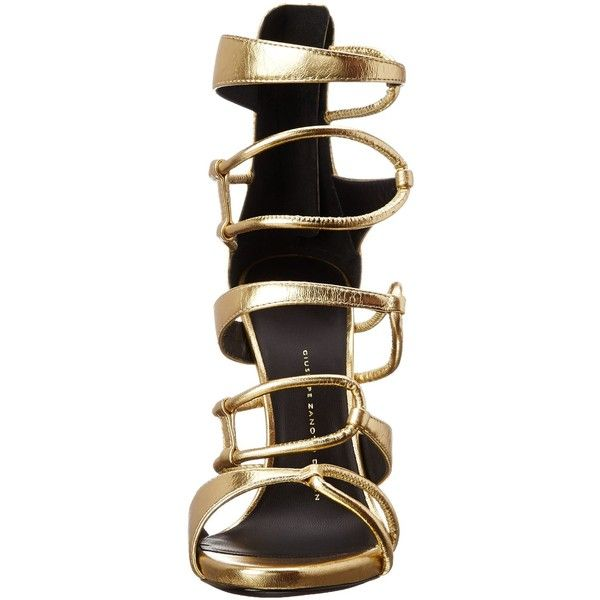 Giuseppe Zanotti Women's Strappy Gold Dress Sandal ($977) ❤ liked on Polyvore featuring shoes, sandals, heels, strap sandals, strappy heel sandals, gold sandals, gold strap sandals and zipper sandals