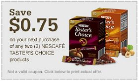 $0.75 off 2 Nescafe Tasters Choice Coffee Coupon on http://hunt4freebies.com/coupons