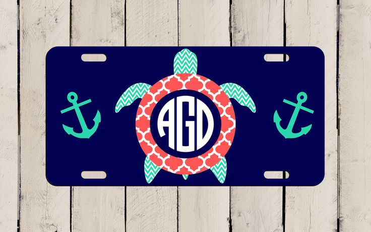 SEA TURTLE Chevron Monogrammed Car Tag License Plate - Customize + Design your own! Beach Girl Monogram Vehicle Accessory Personalized Gift by TheMonogramStand on Etsy https://www.etsy.com/listing/248873908/sea-turtle-chevron-monogrammed-car-tag