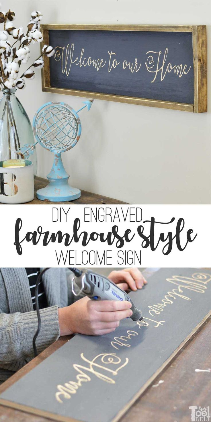 DIY Woodworking Ideas How to make an entryway welcome farmhouse sign, tutorial and printable pattern.