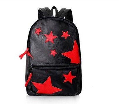 Оптовая 2013 черный кожаный красный звезды рюкзак, новые женщины досуг рюкзак, простой дизайн мужчин sprots рюкзаки, оптовая