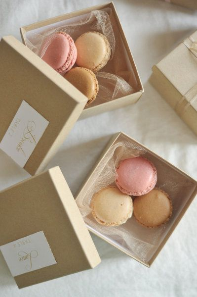 Boxed maccaroons for favours ..mmm a treat for your Rosvine wedding