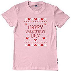 Threadrock Big Girls' Happy Valentine's Day (Ugly Sweater) Youth T-Shirt S Pink