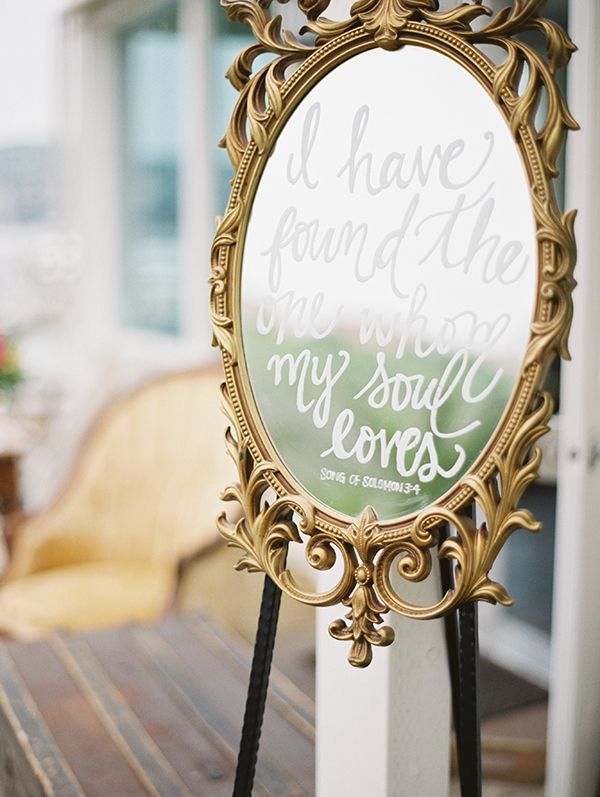Love Quote on a Vintage Mirror | Audrey Norman Photography | 12 Personal and Unique Wedding Signs!