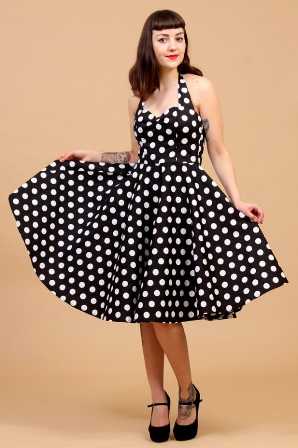 the 50s classic black polkadot swing meriam dress by hell bunny rockabilly de luxe. Black Bedroom Furniture Sets. Home Design Ideas