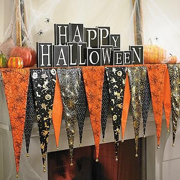 Bewitching Halloween Mantel Scarf, order two for fireplace mantel
