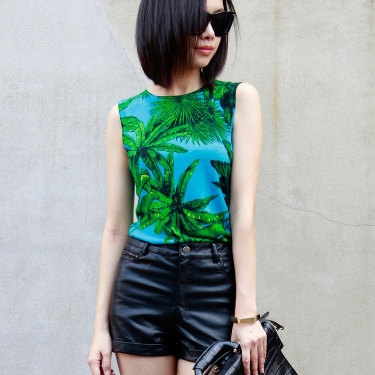 LSD new fall VERS * CE FOR HM Tropical Coconut Grove Street beat retro green knitted vest T