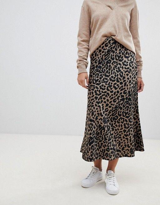 4ea560bb36 DESIGN bias cut satin midi skirt in leopard print in 2019 | Wishlist ...