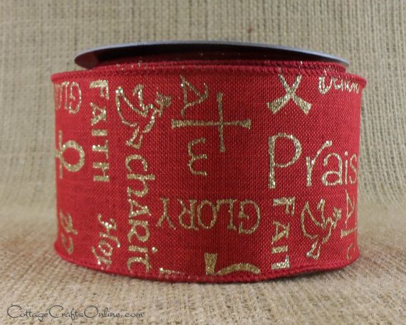 Christmas Wired Ribbon 2 1/2 Faith Hope by CottageCraftsOnline