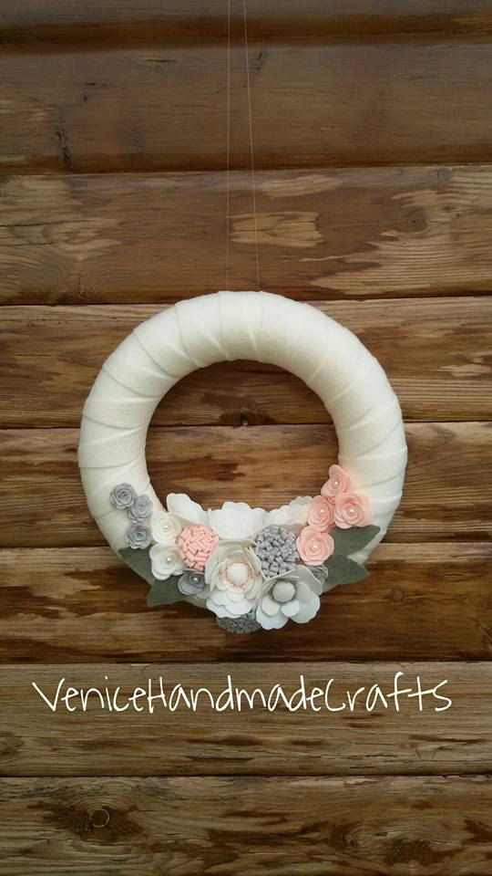 felt wedding wreath floreal wreath gift by VeniceHandmadeCrafts