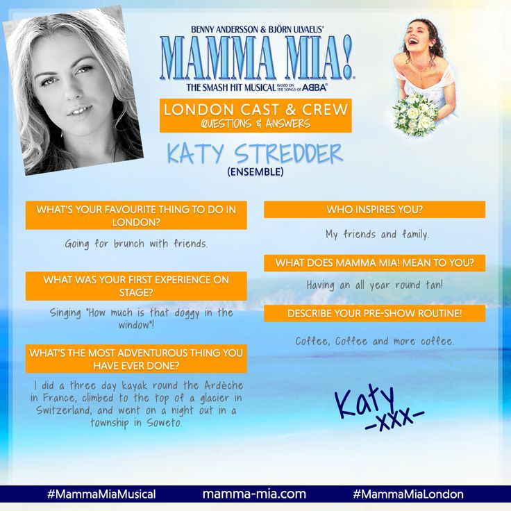 #MeetTheCastMonday - Say hello to Katy Stredder, a member of the f-ABBA-lous Ensemble at MAMMA MIA! London 😃  Join the fun on a Greek island paradise in London's West End, at Novello Theatre - GR-ABBA your tickets today!  #MammaMiaMusical #MammaMiaLondon #MeetTheCast
