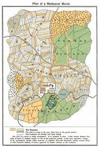 Plano de un Feudo donde se representa su estructura, desde la casa del patrón, hasta las plantaciones