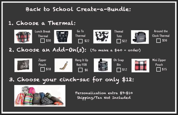 Back to School Create-a-Bundle. So many great combos to get your kids ready and organized for Back to School! Cinch Sac for $12 when you spend $40 makes it all affordable! Thirty-One August 2016 www.mythirtyone.ca/tatiana