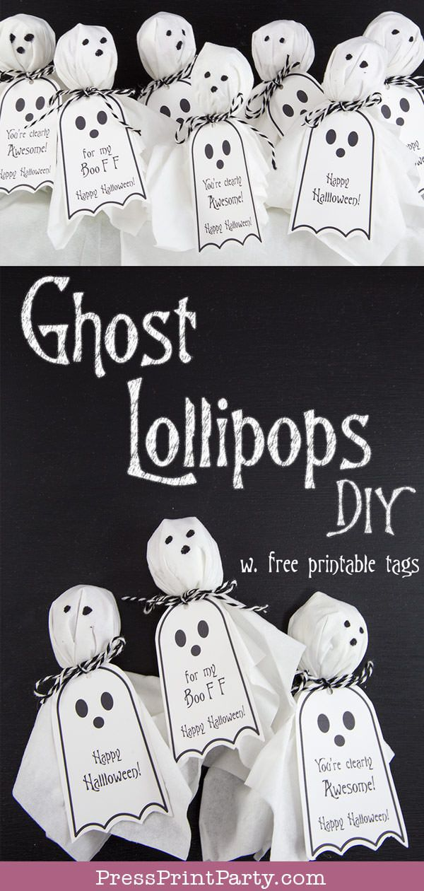 Ghost Lollipops w. FREE Printable Halloween tags – Press Print Party!